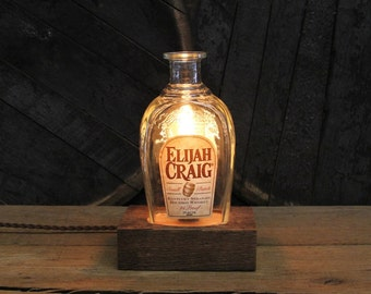 Elijah Craig Bourbon Bottle Lamp, Whiskey Bottle Light, Reclaimed Wood Base Desk Lamp, Whiskey Gift, Upcycled Light Fixture, Bar Lamp