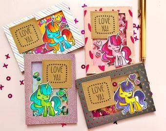 "Unicorn Shaker Valentine's Day Shaker Card Set - Handmade, Colored & Stamped - Reads ""Love Ya"" - Set of 4"