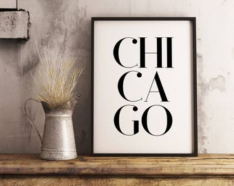 Chicago | Paper print poster, US, USA, city, cities, Illinois, black and white modern wall art, design