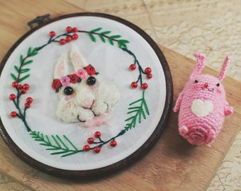 Lovely Rabbit Wearing A Wreath Embroidery Hoop Art