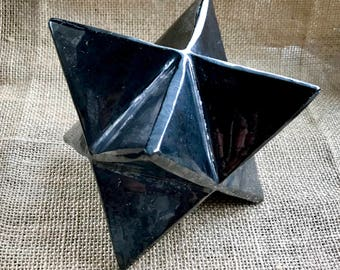 Shungite Merkaba, 4 inches, 100mm, EMF, Large Merkaba, 8-Pointed Star, Russian Shungite, Divine Geometry, EMF Protection, Extra Large