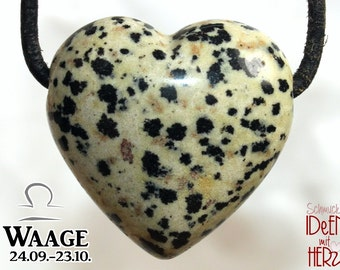 LIBRA: Dalmatian stone (heart) on leather strap / cotton cord (necklace)