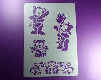 Stencil teddy Bear 4 bear motifs-BA37
