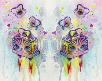 space toast - cute art, mini print, tiny art, cat art, cute funny art, watercolor illustration, trippy art, rainbow painting, rainbow cat
