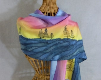 "Silk Scarf ""Pine Forest Sunrise"", Hand Painted Silk Scarf, Yellow and Blue Scarf"