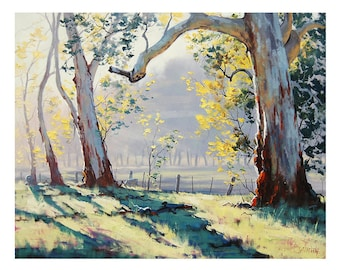 TREES PAINTING ORIGINAL oil Painting Australian Eucalyptus trees Sheep landscape by G.Gercken