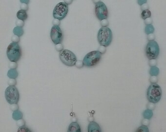 Blue Porcelain Beads with Pink Flowers (#51)