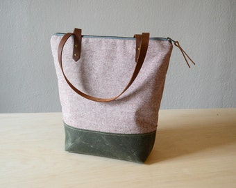 Zipper Tote Bag in Rust Linen with Waxed Canvas