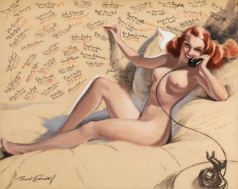 12X18 Print - Sale - BRADSHAW CRANDELL 40s Redhead Nude Vintage Phone Art Deco Pin-Up - Cosmopolitan Illustrator of 40s - Pinup