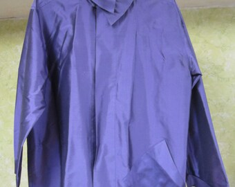 Vintage Zina Solid Purple Silk Blouse Shirt Top L
