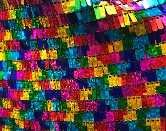 New Rainbow Multicolored Piano Scales Dangaling Medium Sequins on spandex Fabric sold by the Yard sequins  [Backdrops, Kimono and more