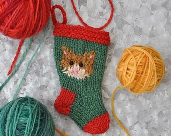 Yellow Cat Hand-Knit Christmas Stocking Ornament
