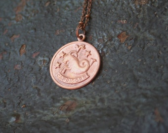 Vintage Copper CAPRICORN Astrological Sign Astrology Charm Necklace
