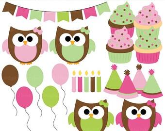 digital clipart owls clip art birthday girls party - Girl Birthday Owls Digital Clipart - BUY 2 GET 2 FREE