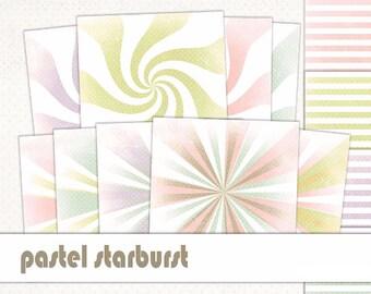 Starburst Digital Paper Pastel-Grunge Starburst Polka Dot-Distressed Sunburst Pattern-Grunge Stripe-Retro Vintage Starburst-Instant Download