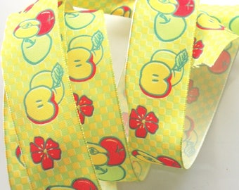X 2 m - red and yellow apples - No. 7 satin ribbon
