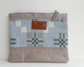SALE SAMPLE - 'No Waste' leather and Welsh wool purse - lavender & baby blue