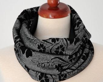 Hose Scarf Loop Scarf Floral Pepita jersey grey black cowl Infinity scarf