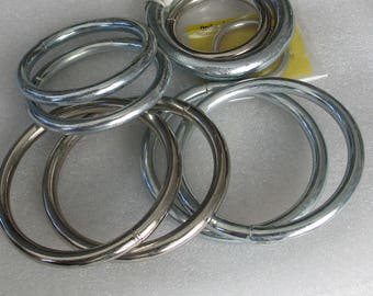 "Assortment of 9 Welded Steel  Rings 1 1/8""-3"" Diameter for Macrame and More"