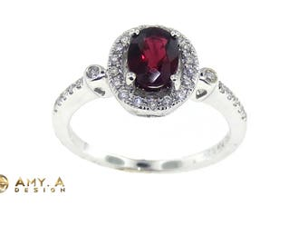 18k White Gold Oval Red Ruby Diamond Fashion Ring 200-20