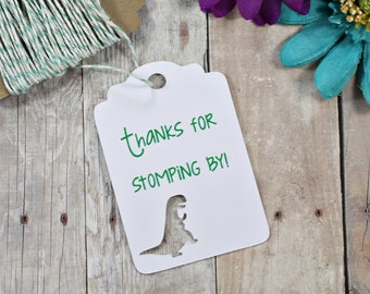 Dinosaur Party Tags 20pc - Thank's for Stomping By - T Rex Tags - Thank You Favor Tag - Tyrannosaurus Tags - Kids Birthday Party