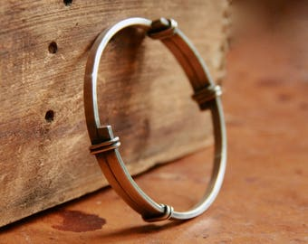 The Abrazo - Rustic Sterling Silver Bangle Bracelet with Overlapping Arms - Boho Chic