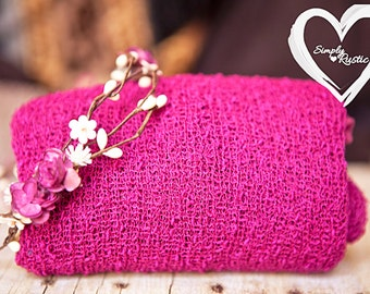 2 item set in Fuschia Headhalo+ 4 way nubby stretch wrap in Fuschia Rustic Vine with fuchsia cream flowers 1st Photos baby photo shoots