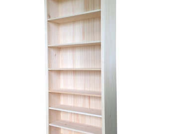 "82""H x 12""D Real Wood Bookcase in Choice of 5 Widths. Crafted from Paulownia Hardwoods with Real Wood Tongue and Groove Backing."