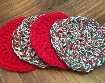Handmade Crocheted Christmas Coasters - Set of 2 Red and 2 Multi