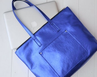 "VANESSA BAG Borsa in pelle, borsa porta computer (MacBook Air 9""x13""), borsa di pelle con zip, borsa ufficio donna, shopper in pelle"