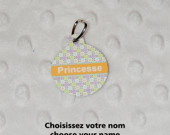 Princess medal pet identification Medal, dog, cat, customizable, personalized name