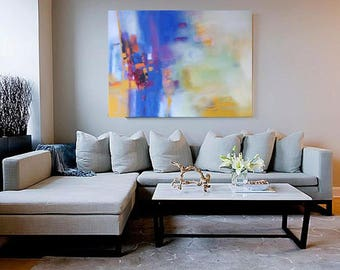 Art print from my original painting in blue and yellow modern abstract interior trends on Eatsy home decor interior design