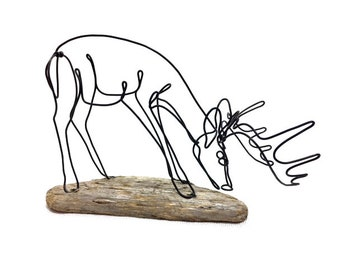 Grazing Buck Wire Sculpture, Deer Wire Sculpture, Deer Wire Art, Trophy Buck Wire Sculpture, 591055744