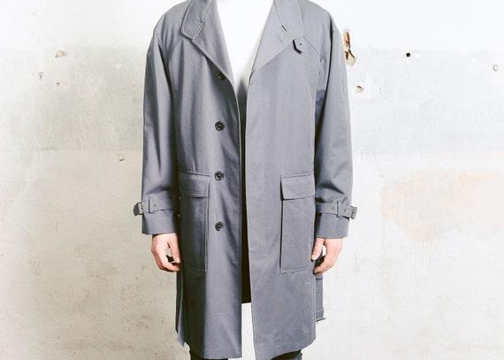 Coat Vintage 1970s Large Grey Minimalist Long Duster Men's size Jacket Coat Insulated TRENCH L Coat Mac Coat Ew7OgCq7