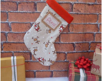 Santa Stocking Personalised Christmas Stocking Reindeer, Christmas Stockings Kids Christmas Stocking Christmas Personalised Stockings