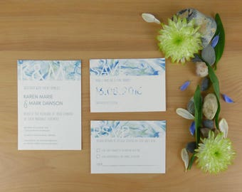 Blue Marbled Monogram Wedding Save the Date card