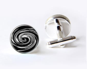 Men's Cufflinks, Black And White Vortex Cufflinks, Men's Gift