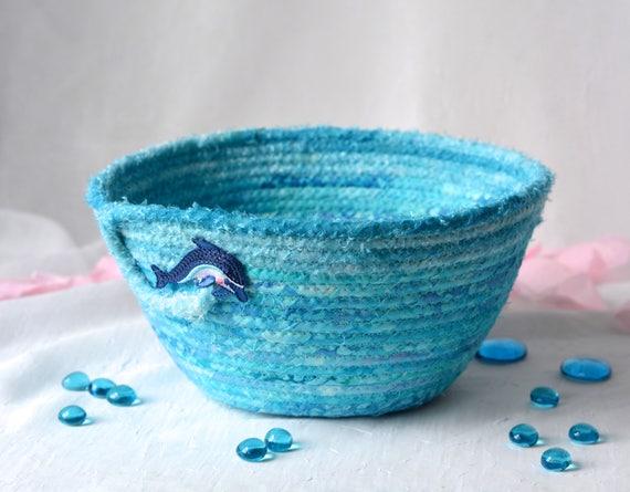 Dolphin Home Decor, Turquoise Gift Basket, Handmade Remote Control Holder, Napkin Basket, Hand Coiled Fiber Basket, Aqua Bowl