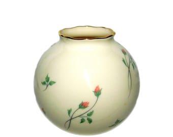 Vintage LENOX Gold Wreath ROSE MANOR Pink Pattern Porcelain Globe Vase