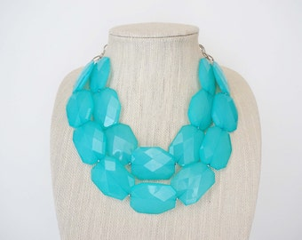 Light Turquoise Blue Statement Necklace