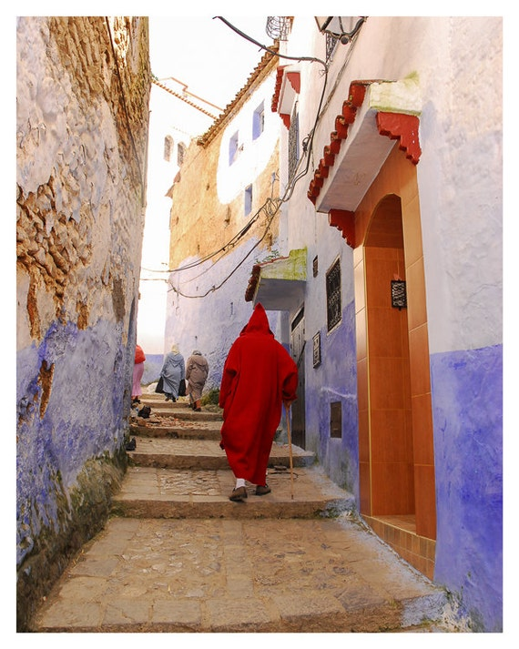 Street Photography, Travel Photograph, Morocco Art, Red Blue Brown Dark Orange, Ethnic Wall Decor, 5x7 8x10, Fine Art Photography