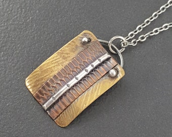 Mixed Metal Necklace,copper brass silver, mixed metals, sterling silver, copper, brass, mixed metal jewelry, multi metal, michele grady