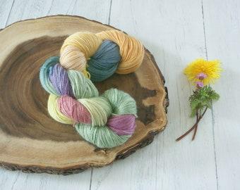 Alpaca Silk Cashmere 4 Ply Yarn 100g - Sock Shawl Cowl - Multi Coloured hand dyed