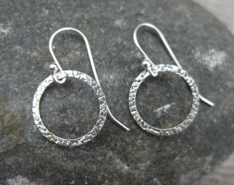 Sterling Silver Hammered Circle Earrings Dangle Earrings Simple Silver Earrings Silver Drop Earrings Graduation Gift Teacher Gift