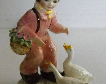 Boy With Geese Figurine Made in Japan Arnart Creation Label