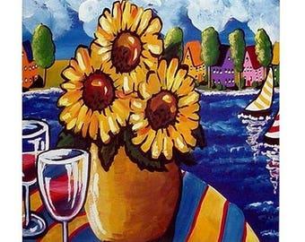 Sunflowers Wine Sailboats Fun Colorful  Whimsical Folk Art Ceramic Tile