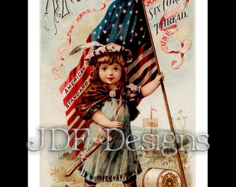 Instant Digital Download, Vintage Graphic, Victorian Trade Card: Thread Ad, Advertisement, Americana Typography, American Flag, July Fourth