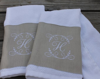 2 Monogrammed Kitchen Towels/ Hand Towels