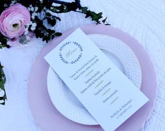 Custom menu wedding, baptism ceremony, wreath pattern, minimum order of 3 units