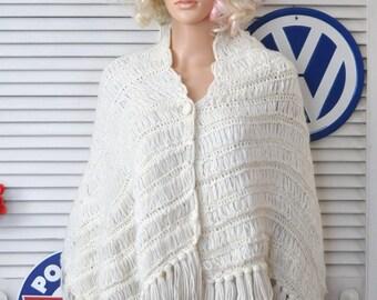 Vintage Shawl  Wrap Crochet Fringed 60s 70s Era Granny Country Prairie Boho with 1 button Closure Theatrer Costume White Wedding Bridal Prom